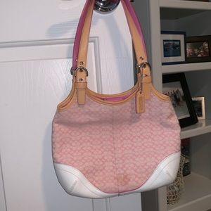 Coach pink fabric handbag